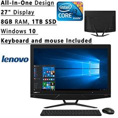 Newest Lenovo All-In-One Flagship High Performance 27″ Display AIO Desktop PC | Intel Core i3-6100 Dual-Core| 3.70 GHz| 8GB RAM| 1TB +8GB HHD| DVD+/-RW| WIFI| Windows 10 (Black) + Keyboard and mouse