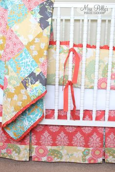 Bedding set and Patchwork Blanket in Botanique fabric custom made by MissPollsPieceGoods. #nursery #bedding #bumperpad #patchwork #blanket #misspolly https://www.etsy.com/listing/201060324/custom-baby-crib-bedding-design-your-own