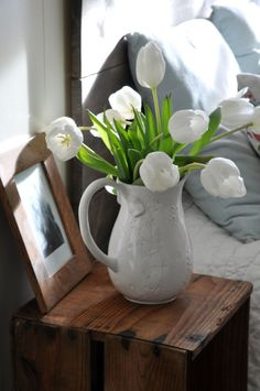 white tulips in a white ironstone pitcher . . .heavenly