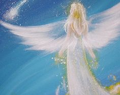 """Limited angel art poster """"living my dreams""""  - modern contemporary angel painting, artwork, print, glossy photo,"""