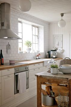 lovely shabby chic kitchen | love windows over the sink...