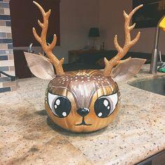 """Some of us can't do """"normal"""" pumpkins 🎃 pumpkin,deer,deerpumpkin Christmas Pumpkins, Halloween Pumpkins, Fall Halloween, Halloween Crafts, Halloween Decorations, Pumkin Decoration, Halloween Mantel, Halloween 2019, Pumpkin Art"""