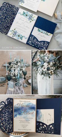 shades of blue micro artistic wedding theme and invitations #blueweddings #ewi #weddinginvitations