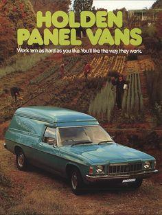 1977 Holden Panel Van and Sandman Australian Muscle Cars, Aussie Muscle Cars, American Muscle Cars, Advertising History, Car Advertising, Holden Monaro, Holden Australia, Car Brochure, Work Horses
