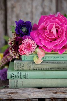 Flowers + books