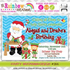 366 DIY Santa Clause 2 Party Invitation Or by LilRbwKreations