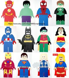 These LEGO Superheroes are perfect for your next party or just to decorate your little superheroes bedroom! They measure from ~ 15 1/2 - 16 inches from head to toe and are precision cut with a digital paper cutter. **This listing is NOT for a digital file.**  - - - - - - - - - - - - - - - - - - - - - - - This decor goes great with our LEGO superheroes birthday invitation! BOY VERSION: https://www.etsy.com/listing/228091847/lego-superhero-custom-printable-birthday...