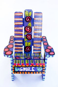 Hand-built & hand painted children's Adirondack chair. Custom designed with your preference of colors, words, theme, and/or child's name. by emilysoriginalart on Etsy https://www.etsy.com/listing/202253767/hand-built-hand-painted-childrens