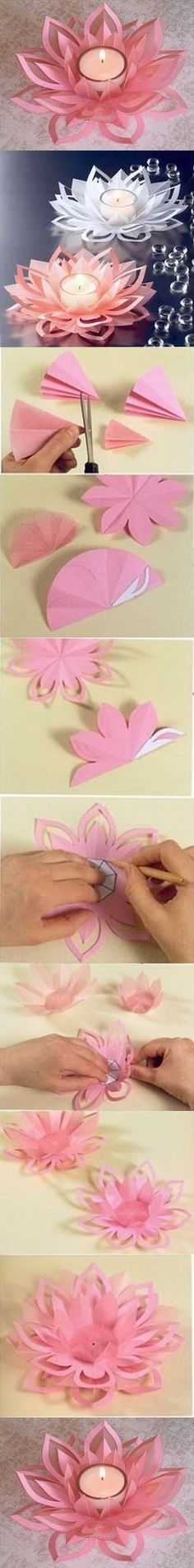 Beautiful DIY Candle Holders – Great Ideas & Tutorials for Special Occasions 2017 DIY Paper Lotus Candle Holders. More The post Beautiful DIY Candle Holders – Great Ideas & Tutorials for Special Occasions 2017 appeared first on Welcome! Flower Crafts, Diy Flowers, Paper Flowers, Lotus Flowers, Wedding Flowers, Peony Flower, Diy Paper, Paper Art, Paper Crafts
