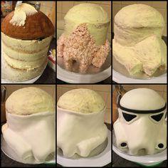 Stormtrooper Cake Tutorial Star Wars Cupcakes, Star Wars Cake, Cake Decorating Tutorials, Cookie Decorating, Star Wars Birthday, Birthday Cake, Cake Cookies, Cupcake Cakes, Sculpted Cakes