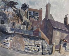 Edward Bawden House at Ironbridge 1956 Watercolour, gouache and ink on paper 18 x 22 inches