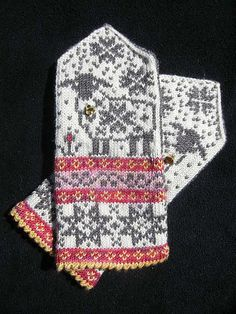Selbu-Baaa-Ter pattern by Mary Scott Huff Fingerless Mittens, Knit Mittens, Knitted Gloves, Knitting Socks, Hand Knitting, Fair Isle Knitting Patterns, Knitting Charts, Crochet Patterns, Mittens Pattern