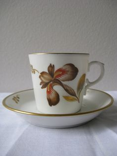 Royal Copenhagen Denmark - Brown Iris Demitasse Cup and Saucer, - this is my mother's china pattern. My parents bought a service for 12 in Denmark in the early China Cups And Saucers, Coffee Cups And Saucers, Cup And Saucer Set, Tea Cup Saucer, Tea Cups, Royal Copenhagen, Copenhagen Denmark, Japanese Porcelain, White Porcelain