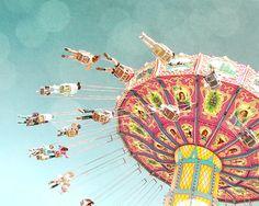nursery art,swing ride,vintage style carnival photo,childrens wall art,baby girl room decor,acqua,pink,yellow,dreamy,fairground ride. $35.00, via Etsy.