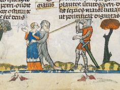 Smithfield decretals. 1300-1340. Knight in shining armor to the rescue! >>Look at short length of overdress.