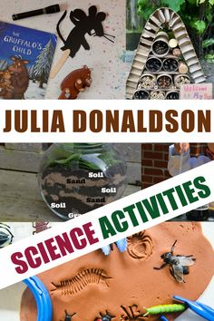 Huge collection of Julia Donaldson activities and science experiments for kids. Make a worm hotel for Superworm, animal footprints for the Gruffalo and Gruffalo Eyfs, Gruffalo Activities, Eyfs Activities, Nursery Activities, The Gruffalo, Science Activities, Activities For Kids, Science Ideas, Preschool Science