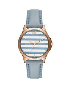Armani Exchange AX  Blue Leather Three-Hand Watch - Online Only