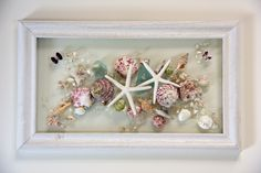 Shell Art Fused on Glass, Seashell Picture for Beach House Decor, Pink Shell Arrangement on Glass Art, Spring Window Hanging by SeaSideCreations1 on Etsy