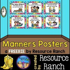 """Classroom Behavior Manners Posters to go with """"Do Unto Otters A Book About Manners"""" by Laurie Keller"""