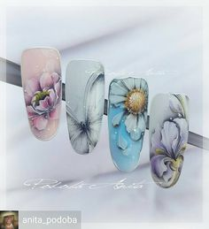 from - Gel painting. Spring Nails, Summer Nails, Nailart, Flower Nail Art, Pastel Flowers, Dream Nails, Butterfly Design, Nails Inspiration, Nail Art Designs