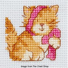 Cat cross stitch pattern, this one is cute and free.