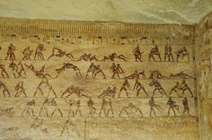 Detail of a wall of a tomb at Beni Hassan: Ancient Egyptian wrestlers in the archaeological site of Beni Hassan. 12th dynasty tomb.