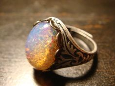 Victorian Style Fire Opal Antique Silver Ring- Adjustable (473) on Wanelo