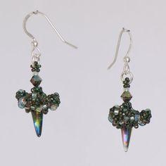 Dark Green Irridescent Glass Spike Earrings by Turquoisebee