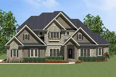 Plan Traditional, Corner Lot, European House Plans & Home Designs Four Bedroom House Plans, House Floor Plans, European House Plans, Built In Bookcase, Bookcases, Hip Roof, Traditional House Plans, Bedroom Layouts, Sims House
