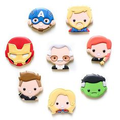 #avengersassemble!!✨ Wrapped up one of my favorite projects this year!! Fresh #avengers cookies were shipped off to @100soft, the amazing illustrator of these Avengers emojis, and shared with @marvelstudios and @disney this weekend. What more can I possibly ask for as a super fan of each one of those accounts?!  .  .  Huge thanks to Truck for letting me translate his designs into cookie-speak and for sharing his then unreleased #stanlee design with me! #excelsior! 🙌🏻 . Cut Out Cookies, Sugar Cookies, Decorated Cookies, Cookie Decorating, Illustrator, Avengers, Truck, Childhood, Bread