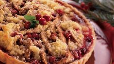 Streusel-Topped Cranberry-Pear Tart recipe and reviews - No need for a rolling…