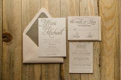 NICOLE Suite Glitter Package, blush and gold, letterpress wedding invitations, gold glitter, glitter wedding invitations, beautiful script wedding invitations
