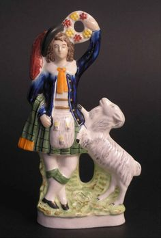 Antique Victorian Staffordshire Scottish Dancing Kilted Figurine Sheep