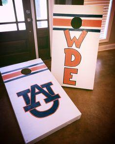DIY hand painted Auburn University cornhole boards.