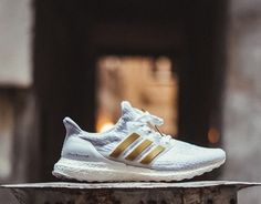 Adidas ultra boost custom gold and white