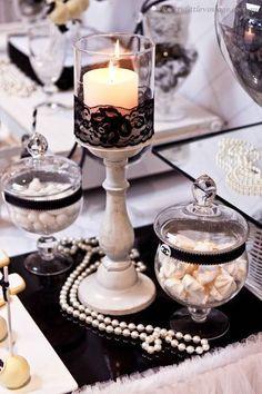 Halloween Wedding Centerpieces, Paris Theme Centerpieces, Wedding Vase Centerpieces, Chanel Party, Paris Birthday, Spa Birthday, Birthday Parties, Friend Birthday, Paris Party