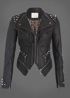 Pretty Attitude Rocking Cool Black Studded Punk Style PU Faux Leather Slim Fit Moto Jacket : Black Label