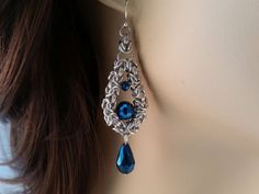 Tear Drop Byzantine Earrings with Metallic Blue Crystals, Chainmail earrings…
