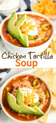 Chicken Tortilla Soup Chicken Tortilla Soup loaded with shredded chicken, vegetables, tortilla strips and spices in a tasty tomato base. This mouthwatering hearty Tortilla Soup is the absolute best! Mexican Chicken Recipes, Healthy Chicken Recipes, Soup Recipes, Dinner Recipes, Healthy Shredded Chicken Recipes, Recipies, Mexican Dishes, Healthy Soup, Chili Recipes