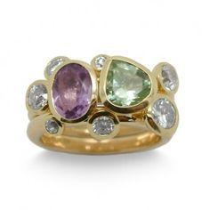 Stacking Ring Gold Amethyst and Diamond