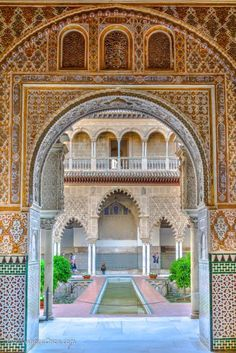 The longer we travel the more were impressed by the worlds seemingly limitless capacity to amaze. Even after visiting countless mansions castles châteaux palaces and the like we were still t Islamic Architecture, Amazing Architecture, Sevilla Spain, Andalusia Spain, Alcazar Seville, Spain And Portugal, Beautiful Places To Travel, Moorish, Monuments