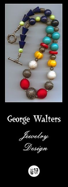 George Walters Jewelry Design - Sterling Silver, Turquoise, Bamboo Coral and Lapis necklace to die for!