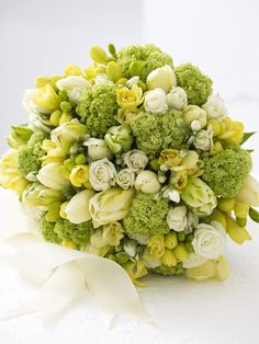 Spring Bridal Bouquet in Cream, Yellow and Green--love the chartreuse!