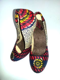 Waterproof African Print Shoes UK 6 & 7 by African Septs, showcasing at IchinenFashion on Etsy, £39.99