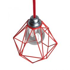 červená-kovová-klietka-na-žiarovku-v-tvare-diamantu-s-upevnením-na-e27-objímku-1 Cage, Light Installation, Metallic Paint, Fabric Covered, Red Color, Light Bulb, Modern Design, Home Decor, Products