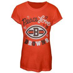 Cleveland Browns - Glitter Peace Love Logo Girls Juvy T-Shirt