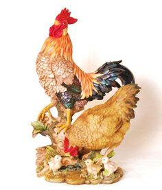 """Rooster,hens & chickens statue Figurine 17.5"""""""