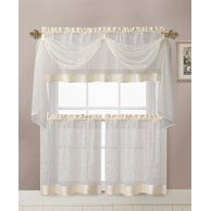 Vcny Home Linen Leaf Embroidered Complete Kitchen Curtain Set