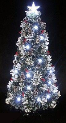 Snowy White Pine Pre-lit Flocked Fiber Optic LED Christmas Tree (4ft)