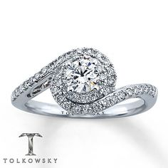 I tried on this ring at Kay & OMG, it was so beautiful, it left me speechless!!! -- Tolkowsky Engagement Ring 3/4 ct tw Diamonds 14K White Gold